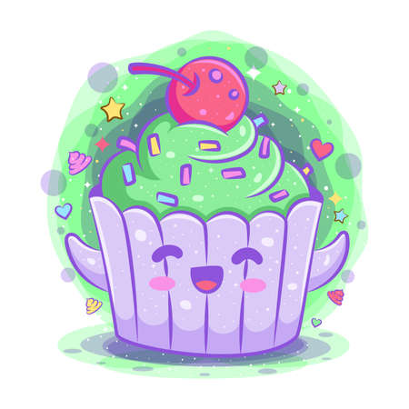 Cupcake kawaii cartoon character of illustration 向量圖像