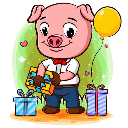Successful pig businessman celebrates success with many gifts of illustration