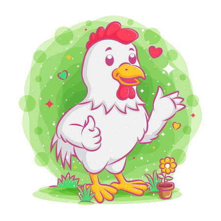 Rooster standing and giving thumbs up of illustration 向量圖像