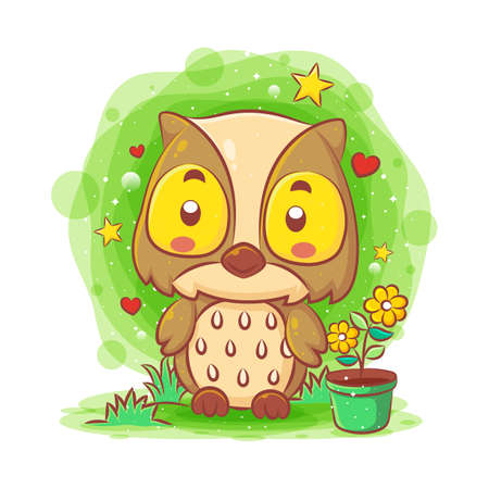 Cute baby owl sitting in the garden of illustration Illustration