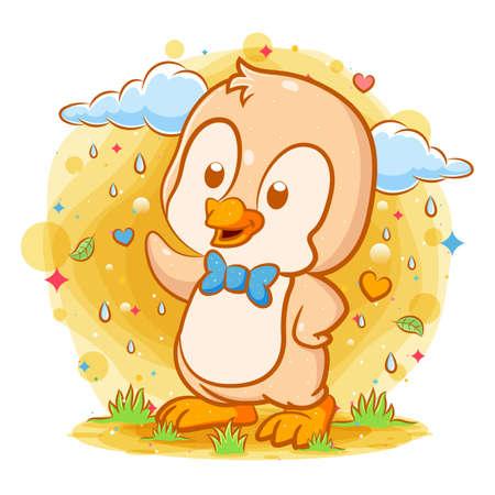 Little orange penguin stands near the rain clouds of illustration