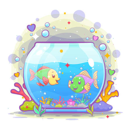 The beautiful oval aquarium have two small fish inside it of illustration