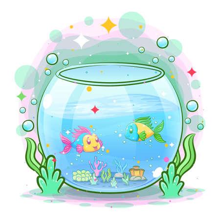 The beautiful aquarium have the gold fish inside of illustration
