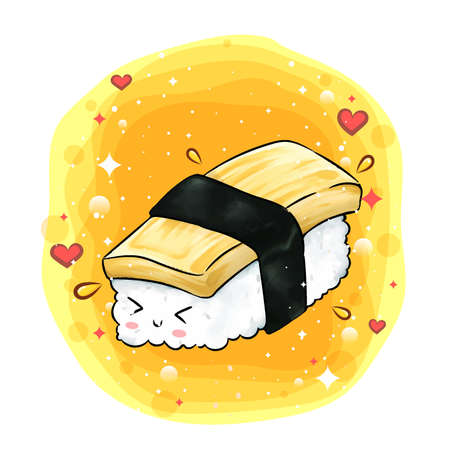 Cartoon of cute tamago with her shy face of illustration