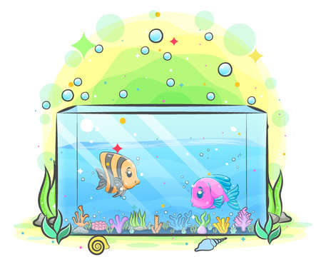 Box of aquarium have two fish inside and the little coral reefs of illustration