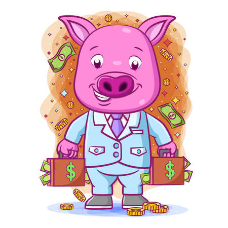 The cartoon of pink pig is holding two big bag of money with the happy face