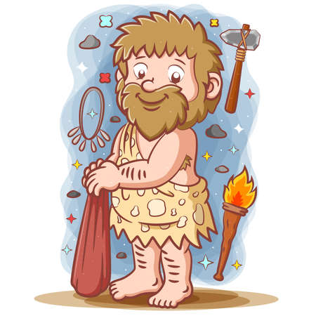 The illustration of the primordial man with long hair and posing the big stone