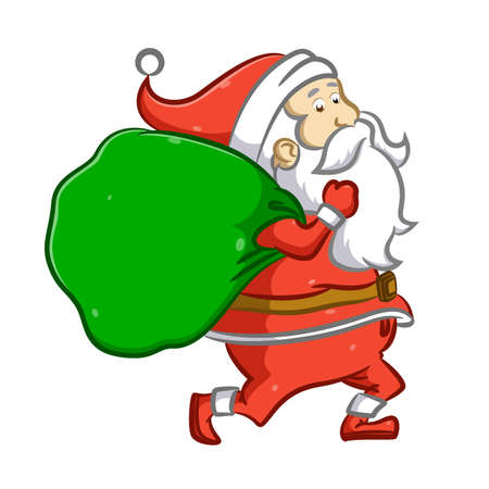 The illustration of the Santa Claus is running and holding a big sack of gift for Christmas