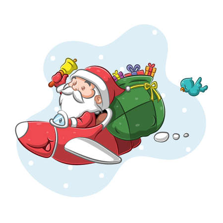 The illustration of the Santa Claus using the red plane to giving the gift in the Christmas night Vetores