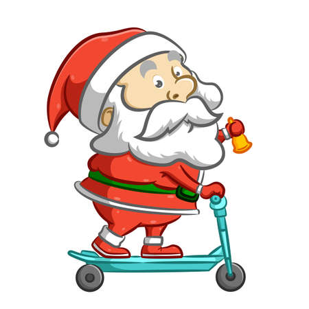 The illustration of the old Santa Claus standing on the blue scooter and holding the yellow bell Çizim