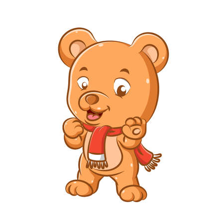 The illustration of funny bear with the red shawl is standing with his feet and smiling with his little mouth