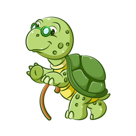 The illustration of the old grandfather of the turtle is walking with the brown stick to get a step
