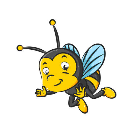 The illustration of the little bee with the black and yellow color is flying with the small wings