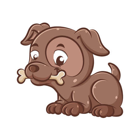 The illustration of the handsome and cute dark brown dog is sitting and bitting the bones to play together