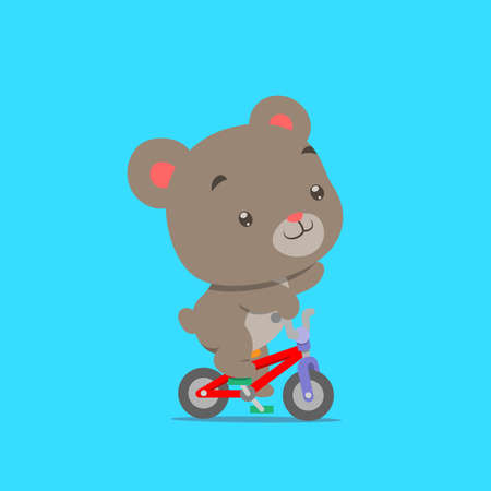 The little teddy bear is cycling with the small colorful bicycle of illustration