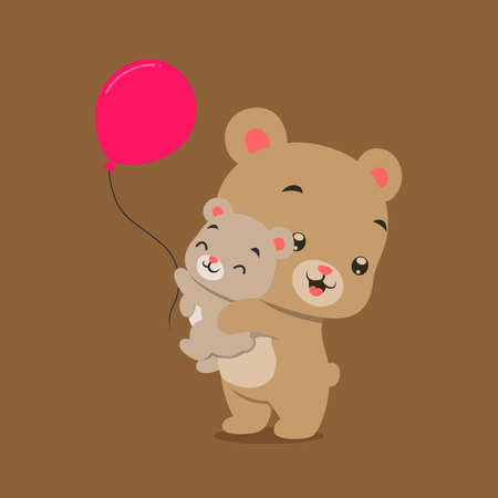The little bear is playing and lifting the baby bear whose holding the red balloons of illustration