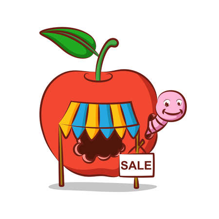 The apple worm store with doing the sale in his apple house of illustration Ilustrace