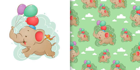 Hand drawn of elephant and mouse is flying the colorful balloons on his trunk in the seamless pattern of illustration Ilustração