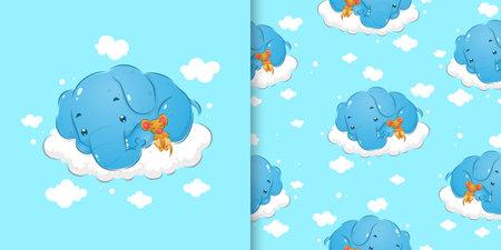 The doodle pattern set of the sleepy elephant sleeping beside the little mouse of illustration Ilustração
