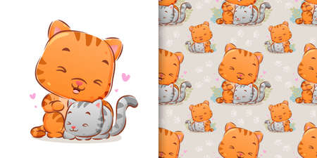 The hand drawn of the cats playing together with the love around them of illustration