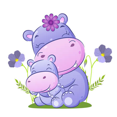 The big hippopotamus is sitting behind her baby in the garden of illustration