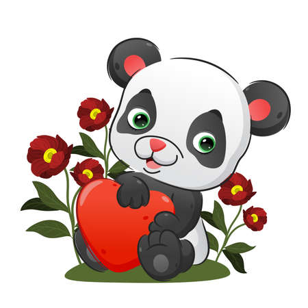 The baby panda is holding the heart balloon with her hands of illustration Vetores
