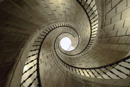 galicia: Helicoidal stairs in Santo Domingo de Bonaval. Santiago de Compostela, Spain