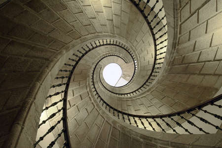 view from below: Helicoidal stairs in Santo Domingo de Bonaval. Santiago de Compostela, Spain