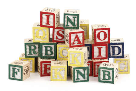 Large group of alphabet blocks isolated on white background photo