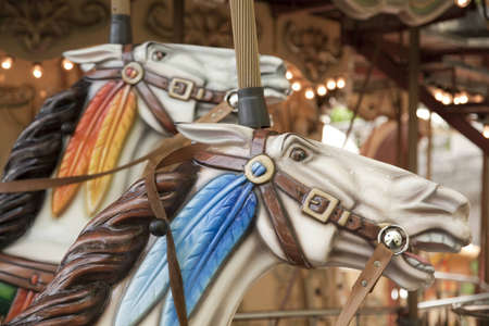 Close up view of a horse head on a horse carousel in Paris photo
