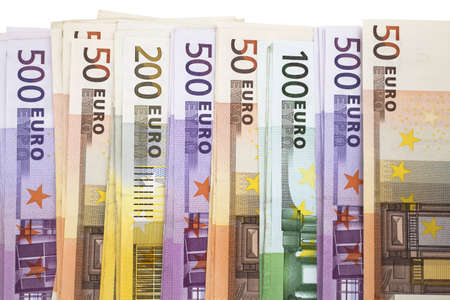 billets euros: Un tas de billets de banque europ�enne de l'Union Banque d'images