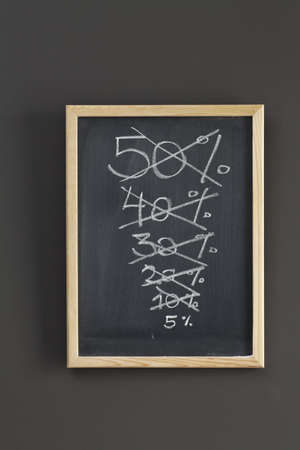 Discount sale sketched on chalkboard photo