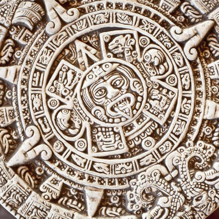 bas relief: Ancient religious symbol in Mexico Stock Photo