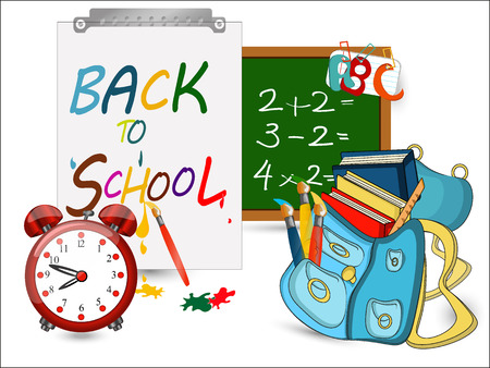 green board: Back to school banner, sign, Alarm Clock,Schoolbag with brushes and books, green board,Study icon,vector