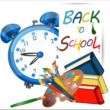 greenboard: Back to school banner, sign, Alarm Clock, Schoolbag with brushes and books, greenboard, Study icon, vector