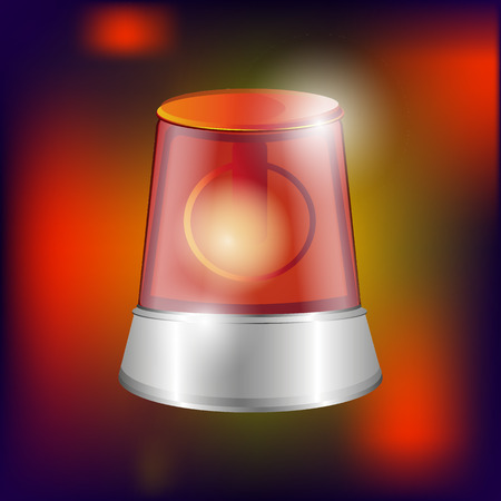 flasher: red siren warning alarm, fire alarm, chrome elements, background, vector