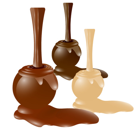 brown and white chocolate liquid bonbons in 3d, vector