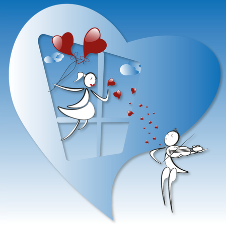 boy plays the violin in the sky, girl on the window with red baloons, blue background Illustration