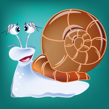 Slug isolated on blue background, cartoon, vector Illustration