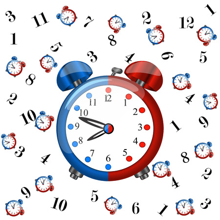 Big redblue alarm clock with pattern coloured redblue alarm clocks and numbers on white background,cartoon