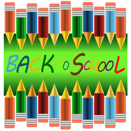 green board: Back to school banner, sign, Colour pencils ,green board,Study icon,background ,vector