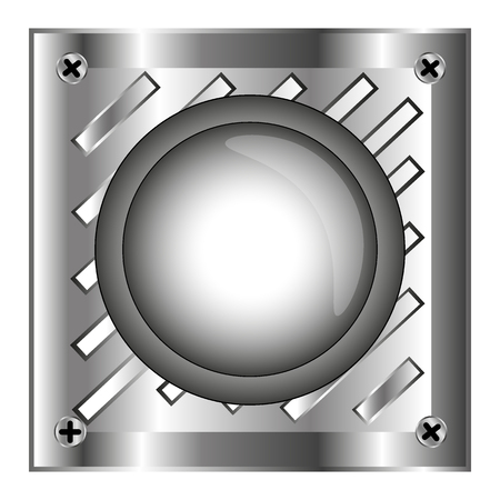 shiny button: Gray alarm shiny button with metal elements, background, vector