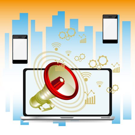 Laptop with a megaphone, future technology for living, Illustration of innovations and internet, vector