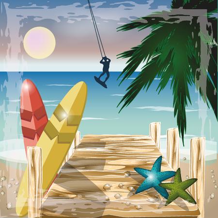 windsurf: Concepto de la playa del verano con la persona que practica surf, ilustración vectorial Vectores
