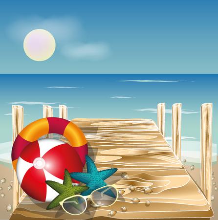 Summer beach sunrise vector concept, Wood bridge on the beach with shells Illustration