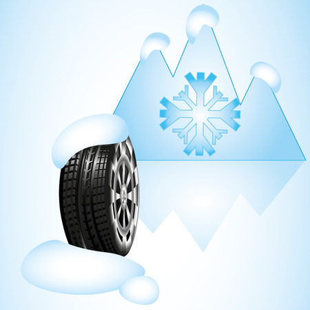 snow tires: Winter Car vector tires, snow mountain, background vector