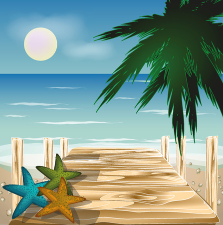 Wood bridge on the beach with shells and palms, vector illustration