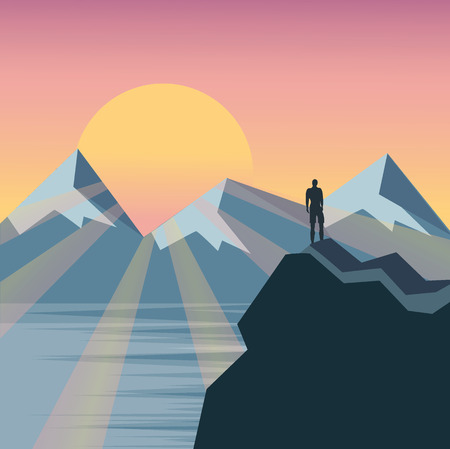 standing stone: Man on the top of the hill watching wonderful scenery in mountains during summer colorful sunrise, vector
