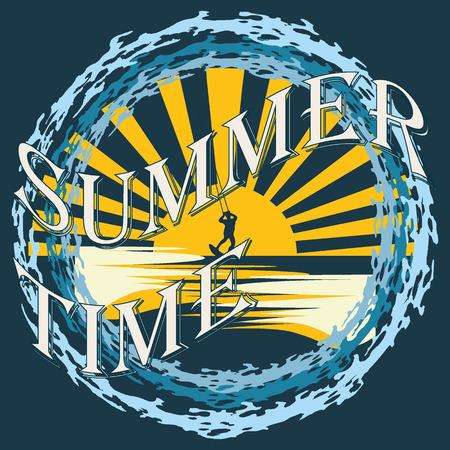 activ: Vector Summertime slogan, typographic illustration with kitesurfer, waves on blue background Illustration