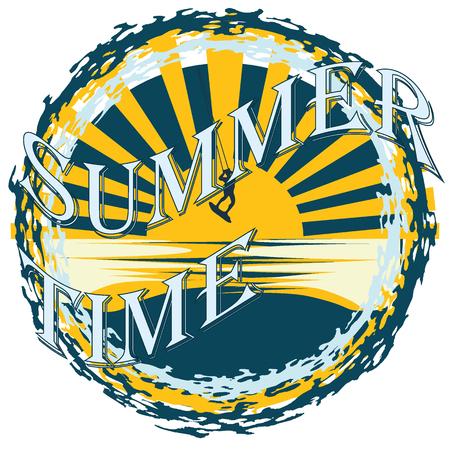 Vector Summertime slogan, typographic illustration with kitesurfer, waves on white background